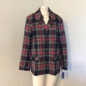 Pendleton Wool Plaid Blazer Jacket 16 18